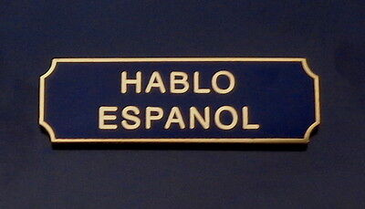 HABLO ESPANOL Award/Commendation Uniform Bar Gold on Blue police/sheriff/fire