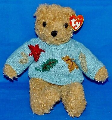 """Ty BABY CURLY Gold Bear (Blue Sweater Version)  (11"""") Classic/Plush 1992 CT"""