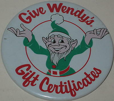 "1970's ""Give Wendy's Gift Certificates"" 3"" Button - Christmas Season"