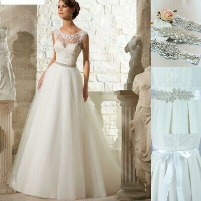 Stunning Wedding Bridal Dress Bead Crystal Rhinestone Belt Sash Waistband Trims