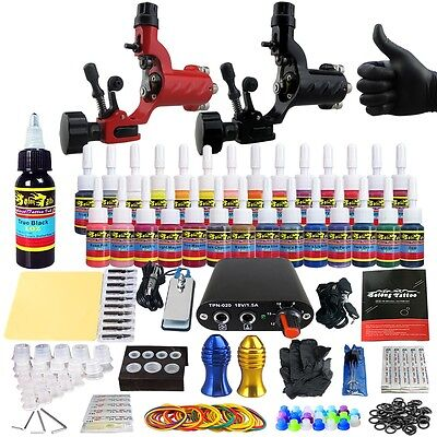 Complete kit de tatuaje agujas Machine Power Supply tintas consejos clip TK204