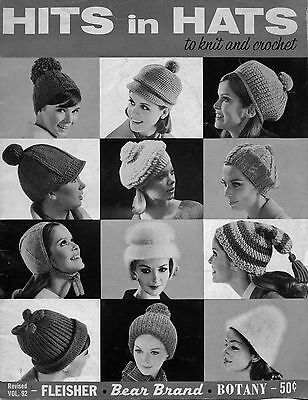 Bear Brand 92 Hits in Hats Knitting Crochet Patterns Beret Stocking Cap 1965