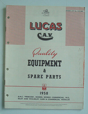 LUCAS BMC Car & Commercial Equipment Details Spares List 1958 #900G Morris Riley