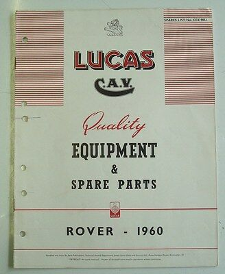 LUCAS ROVER & LANDROVER Spare Parts List 1960 #905J
