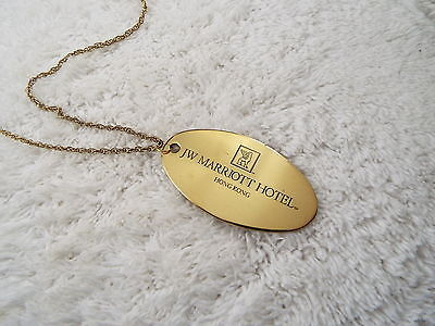 Goldtone JW Marriott Hotel HONG KONG Room Key Tag Pendant Necklace (D52)