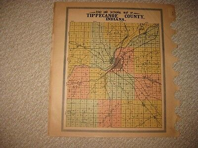 Antique 1920 Fairfield Township & Tippecanoe County Indiana Map West Lafayette N