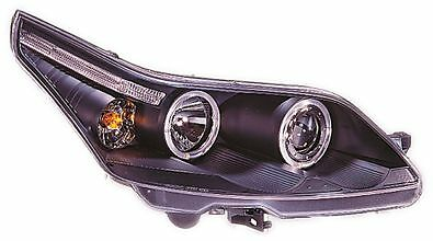 Citroen C4 (04-08) Black Halo Angel Eye Projector Front Headlights Lights - Pair