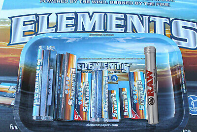 Mega ELEMENTS ROLLING PAPER COMBO TRAY+PAPERS+TIPS+ROLLING MACHINE+LIGHTER