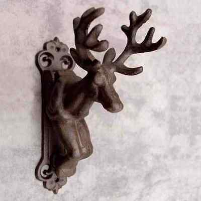 DEER STAG BUCK WITH ANTLERS Cast Iron DOOR KNOCKER ~ RUSTIC ANTIQUED BROWN ~