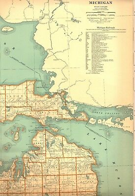 1932 RARE Northern MICHIGAN Map UPPER PENINSULA Map with RAILROADS 2061