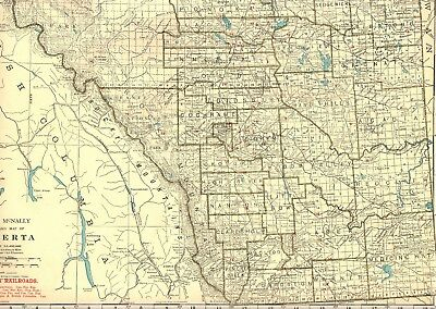 1927 Uncommon ALBERTA Canada Map with RAILROADS Original Map of Alberta 2073