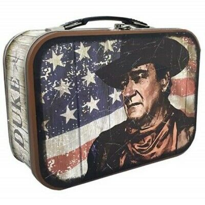 John Wayne and American Flag Distressed Style Large Carry All Tin Tote Lunchbox