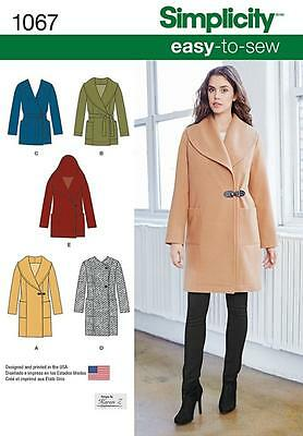 SIMPLICITY SEWING PATTERN Misses' Easy-To-Sew Jacket or Coat SIZE  6 - 22 1067