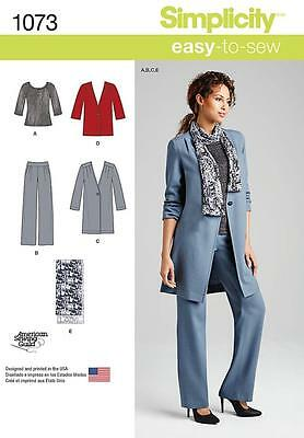 SIMPLICITY SEWING PATTERN Misses' Pants Coat Jacket Scarf & Knit Top 6 - 22 1325