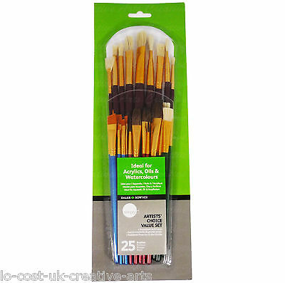 Daler Rowney 25Pcs Artist Paint Brush Value Set For Watercolour Acrylic Oil