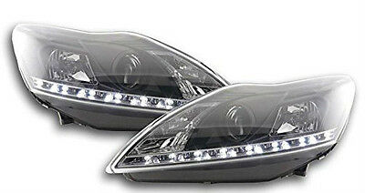 Ford Focus (2008-2011) Black DRL Devil Angel Eyes Front Headlights Lights - Pair