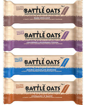 Battle Oats Bar 12 x 70g Bars - 100% Natural Protein Oaty Flapjack