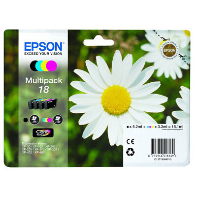 Epson Genuine T1806 18 4-Ink Multipack for Expression Home  XP-215 XP-315 XP-415