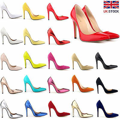 Ladies Womens Mid High Heels Wedding Bridal Prom Party Stiletto Court Shoes Size