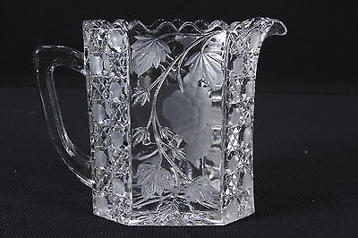 Cut Glass Rectangular Pitcher Grapes & Peach & Pear Designs 6 Cup Capacity