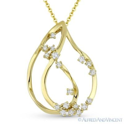 0.27 ct Diamond Cluster 14k Yellow Gold Tear-Drop Charm Pendant & Chain Necklace