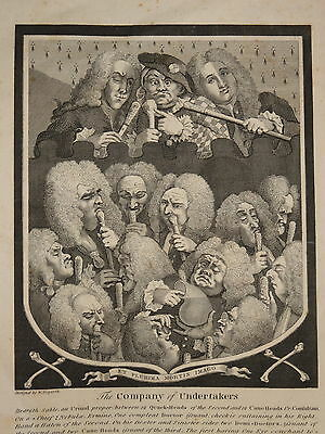 CARICATURE PRINT WILLIAM HOGARTH COMPANY of UNDERTAKERS MEDICINE DOCTORS 1800