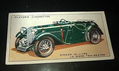1936 SINGER LEMANS SPORTS  -     Orig Cigarette Card UK