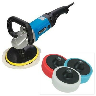 SILVERLINE 1200W 180mm SANDER BUFFER & POLISHER + 3PC SPONGE POLISHING HEADS KIT