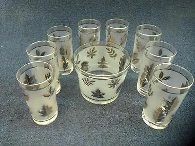 Vintage LIBBEY Silver Leaf Ice Bucket and 8 Drink Glasses (gs)