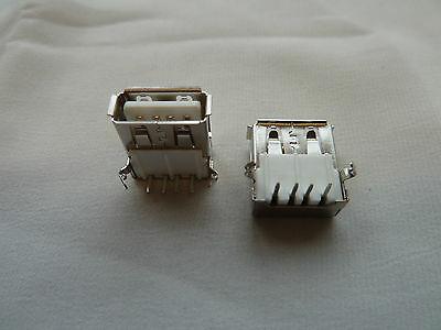 2 USB Type A 90°Connectors PCB Mounting Single Computer Repair PC (150)