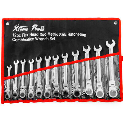 12 Pc Duo Sae And Metric Flex Head Flexible End Ratchet Ratcheting Tool Set