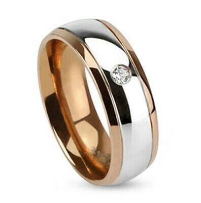 6mm Inner Rose Gold IP Two Toned Stainless Steel Dome Ring Band Single CZ