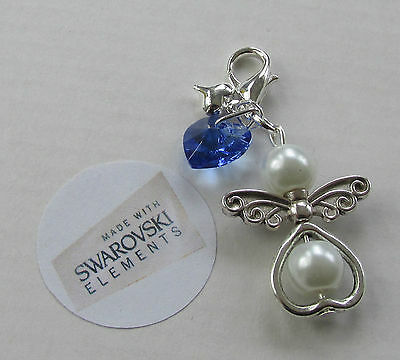 Wedding Bride Gift - Something Blue Crystal Heart Guardian Angel Charm