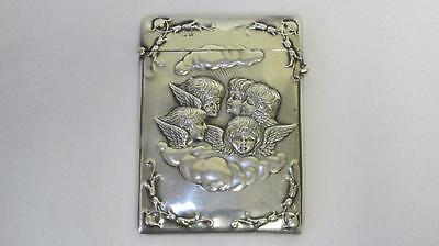 Antique Solid Sterling Silver Visiting Card Case 5 Cherubs H Matthews Birm. 1900