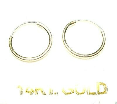 14Kt Solid Yellow Gold Thin 12MM Endless Hoop Earrings.........100% Guaranteed!