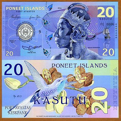 Poneet Islands, 20 Kasutu, 2015, Private issue, POLYMER, UNC