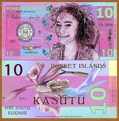 Poneet Islands, 10 Kasutu, 2015, Private Issue POLYMER, UNC
