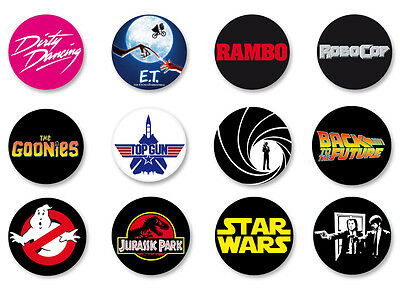 Lot Pack Badge Button Ø25mm The Best 80's Movies Film Cinema
