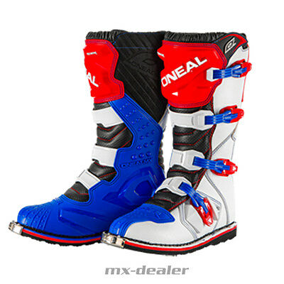 ONeal Rider Motocross Stiefel weiss rot blau Enduro boot Quad MX
