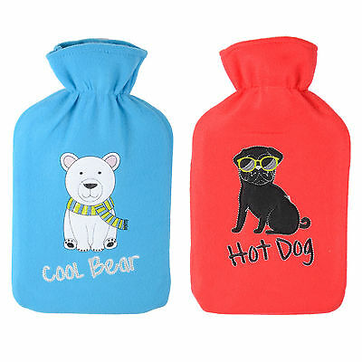 Large Quality Hot Water Bottles With Warm Fleece Removable Covers Thermotherapy