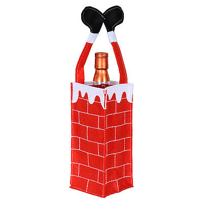 Felt Fabric Santa Stuck In Chimney Christmas Xmas Wine Bottle Gift Bag Holder