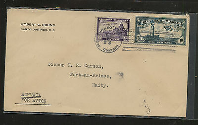 Dominican  Republic  C12  on  airmail cover to Haiti 1933    MS0721