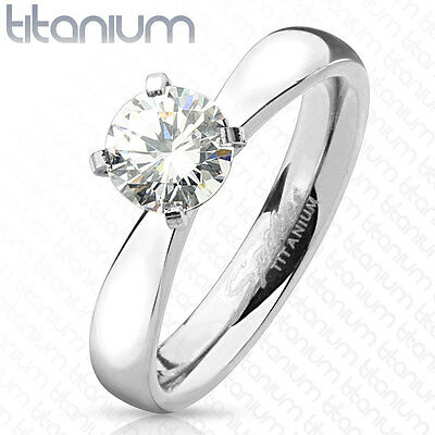 0.75ct Round Cut Solitaire CZ Titanium Engagement Ring
