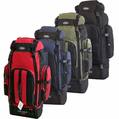 Extra Large 120 Litres Travel Camping Hiking Holiday Rucksack Backpack Bag UK