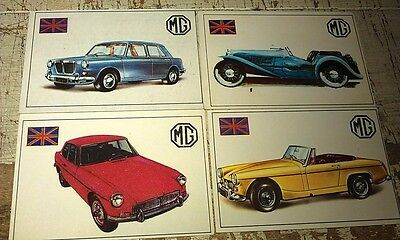 MG - Famous Cars by Top Sellers Ltd UK Trade Cards RARE - MGB GT 1100 Midget J2