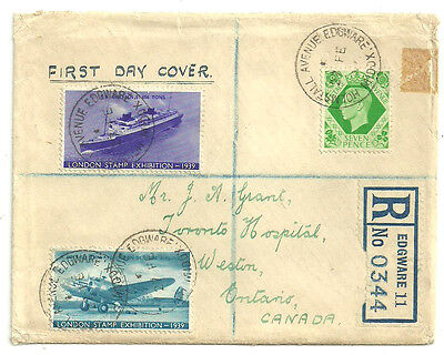 7D George Vi First Day Edgware 27 Fe 1939 Cds London Stamp Exhibition Labels X2