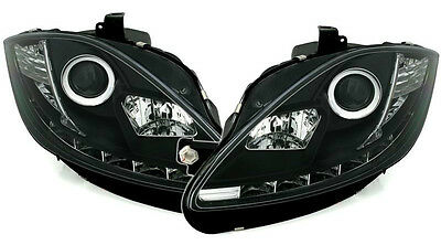 Seat Leon (2005-2008) Black DRL Devil Angel Eyes Front Headlights Lights - Pair