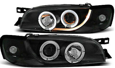 Subaru Impreza Mk1 98-01 Black Halo Angel Eye Projector Front Headlights Lights