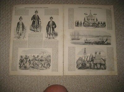 Large Antique 1855 Burma Myanmar Asia Print Fashion Dance Yangon Print Elephant