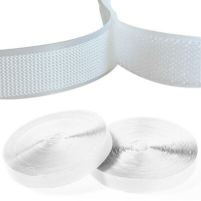 Hook and Loop Self Adhesive Sew Sticky Tape Strip Fastening 10mm or 20mm White